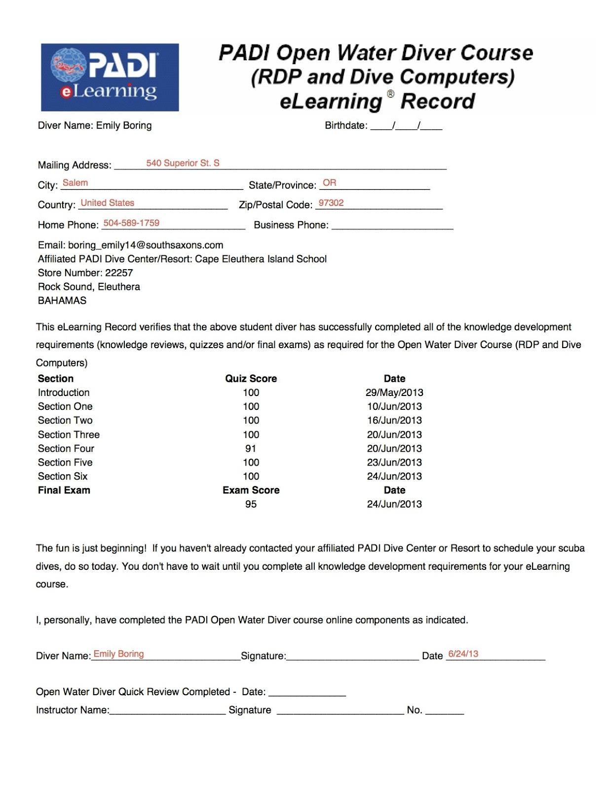 The Island School Online Scuba Certification Course Complete