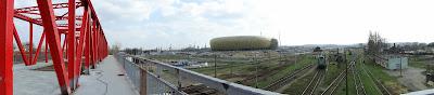 Widok stadionu z wiaduktu