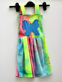 Girls jersey dress with butterfly motif