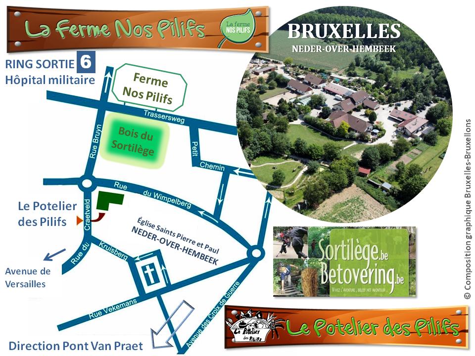 Ferme Nos Pilifs - Le Potelier des Pilifs - Bois du Sortilège - Plan d'accès - Bruxelles-Bruxellons
