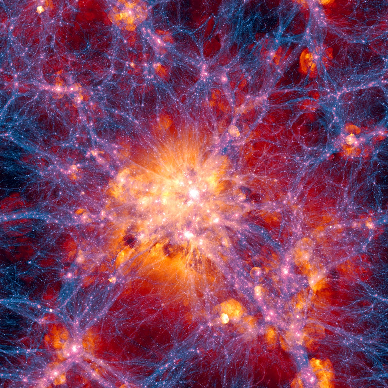 This very detailed simulation of large scale structure was created as part of the Illustris simulation. The distribution of dark matter is shown in blue and the gas distribution in orange. This simulation is for the current state of the Universe and is centered on a massive galaxy cluster. The region shown is about 300 million light-years across. Credit: Illustris Collaboration