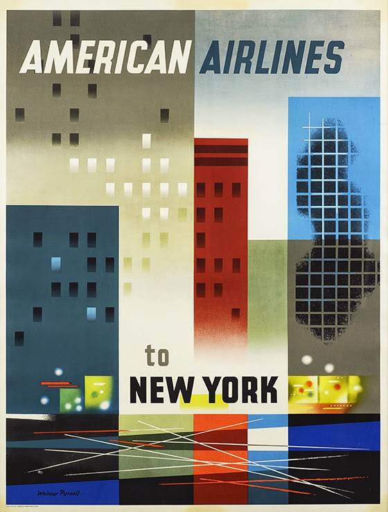 advertising, classic posters, free download, free printable, graphic design, printables, retro prints, travel, travel posters, vintage, vintage posters, vintage printables, New York American Airlines - Vintage Travel Poster