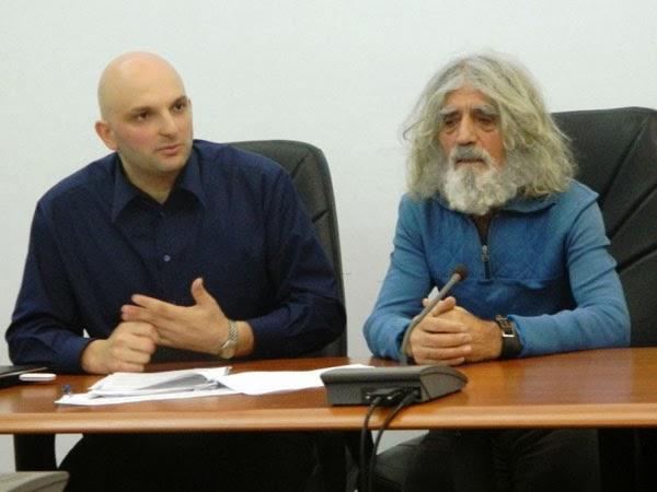 Sorin Victor Roman si Mosion Gheorghe la deschiderea inscrierilor pentru Maraton Arad 2014