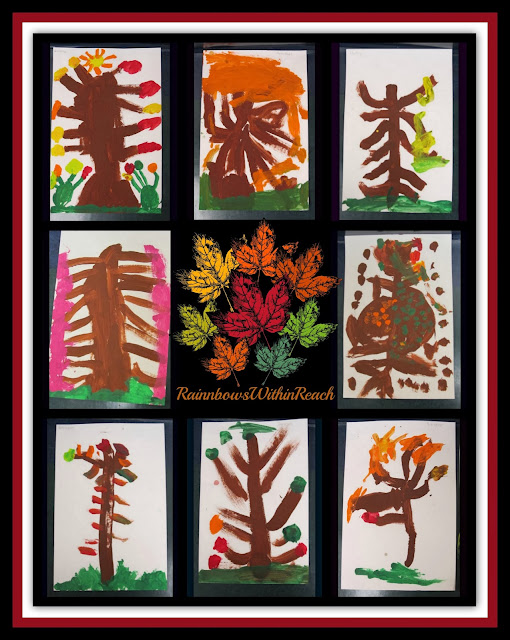 Autumn Trees Painted on the Preschool Easel via RainbowsWithinReach