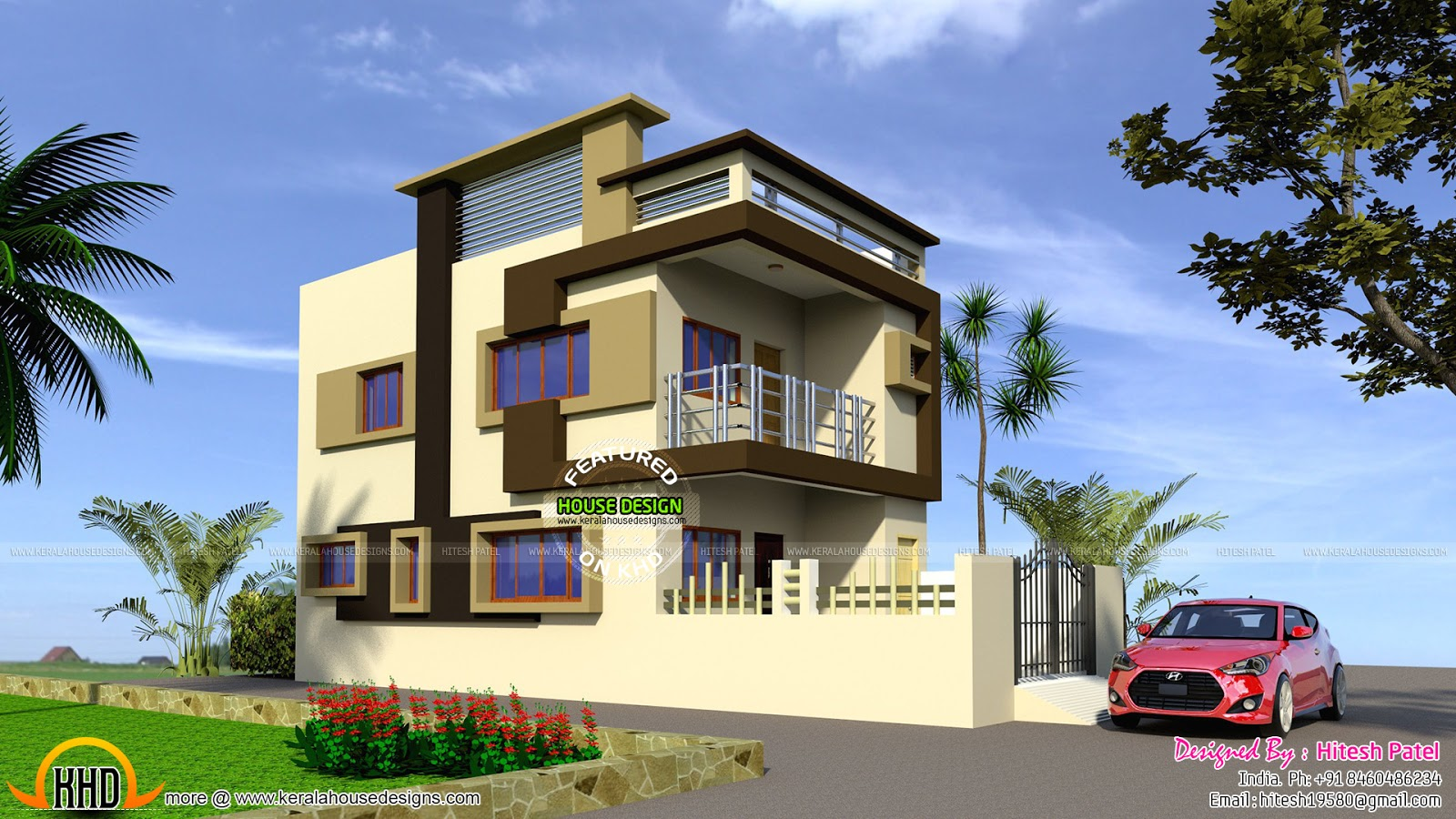 Indian model flat roof house kerala home design and for Indian house portico models