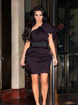 Hot Bio Celebrity Kim Kardashian In Purple Dresses