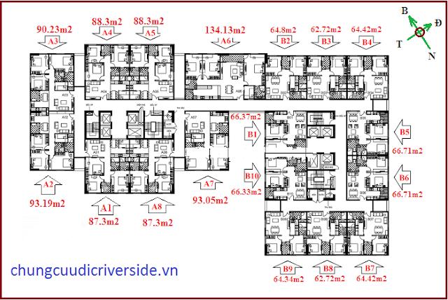 Mặt bằng căn hộ A7 chung cư Udic Riverside