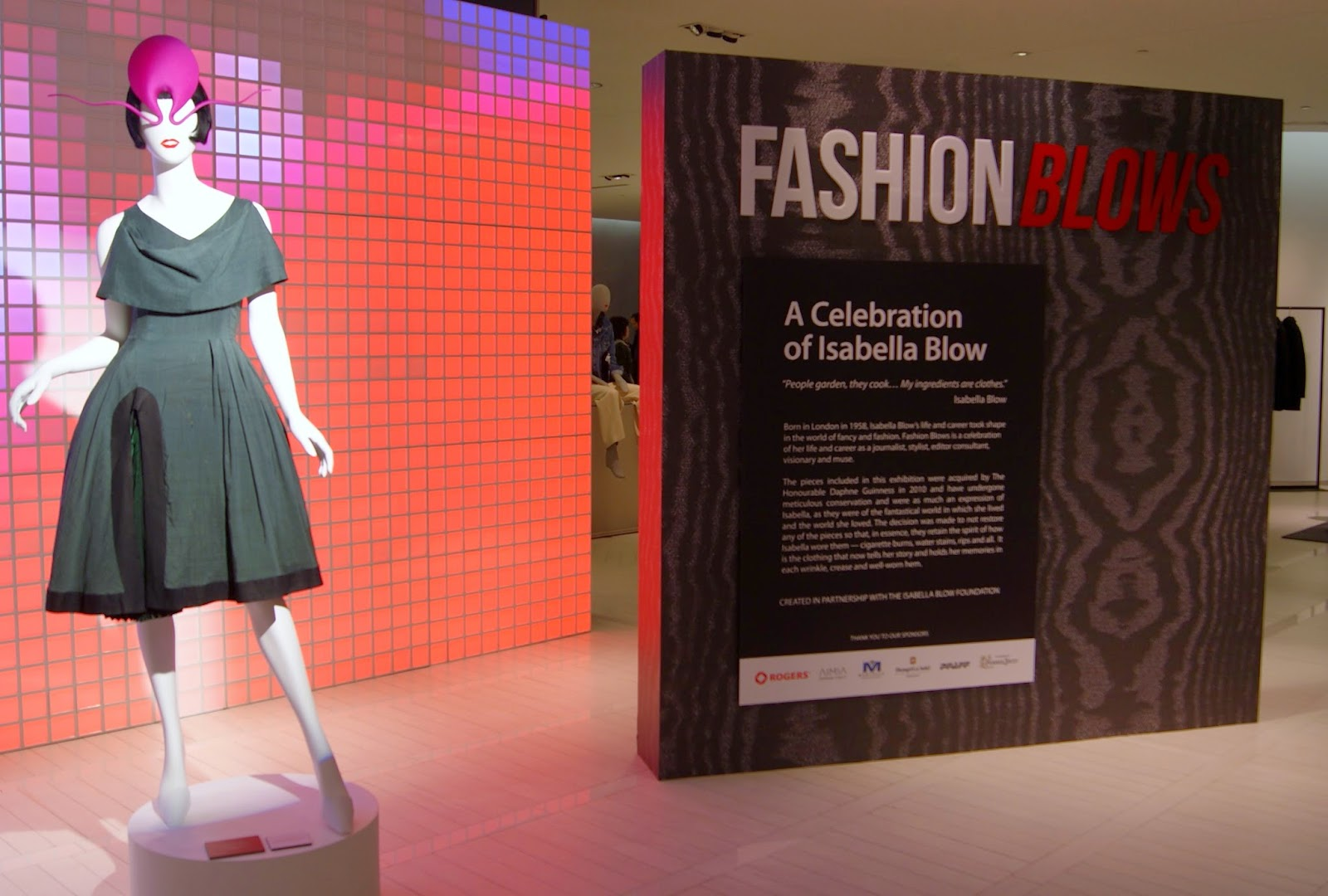 Fashion Blows Exhibit at Hudson's Bay in Toronto, Isabella, Daupne Guinness, Style, Culture, foundation, aleander mcqueen, philip treacy, suicide,the purple scarf, melanie.ps, ontario, canada