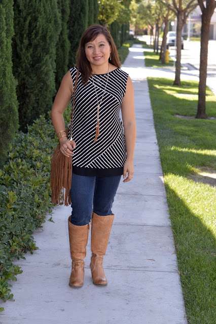 Ted & Muffy Boots, WHBM stripe tunic, WHBM Double Tassel Necklace