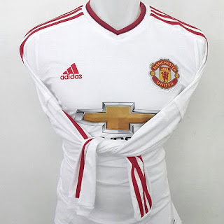 gambar desain terbaru gambar foto photo kamera Jersey lengan panjang Manchester United away terbaru musim 2015/2016 kualitas grade ori di enkosa sport pasar tanah abang lokasi jakarta