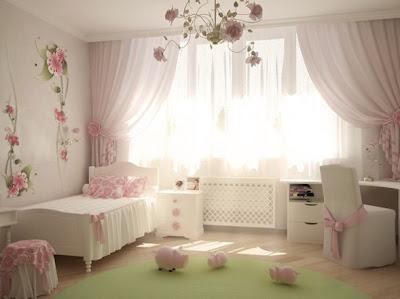 foto dormitorio niña rosa blanco