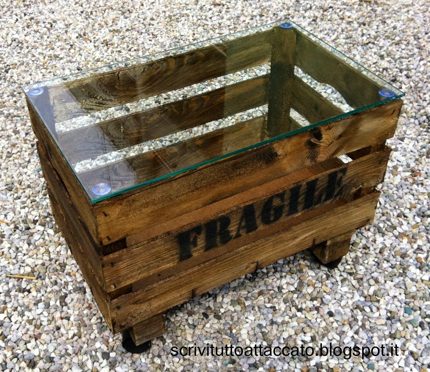 Grande tavolino con cassette frutta kw96 pineglen for Tavolino con cassette