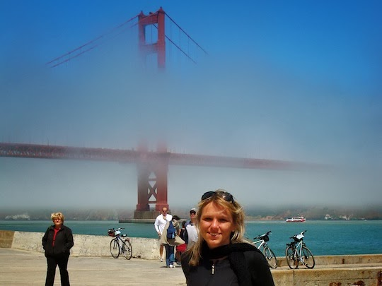 Holiday Nomad with the Iconic Golden Gate Bridge on the background