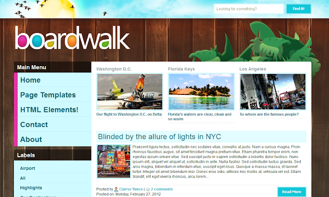 Boardwalk Travel Theme Blogger Template