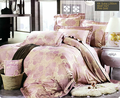 Sprei Kingkoil Sutra Motif Sutra Pink Gold