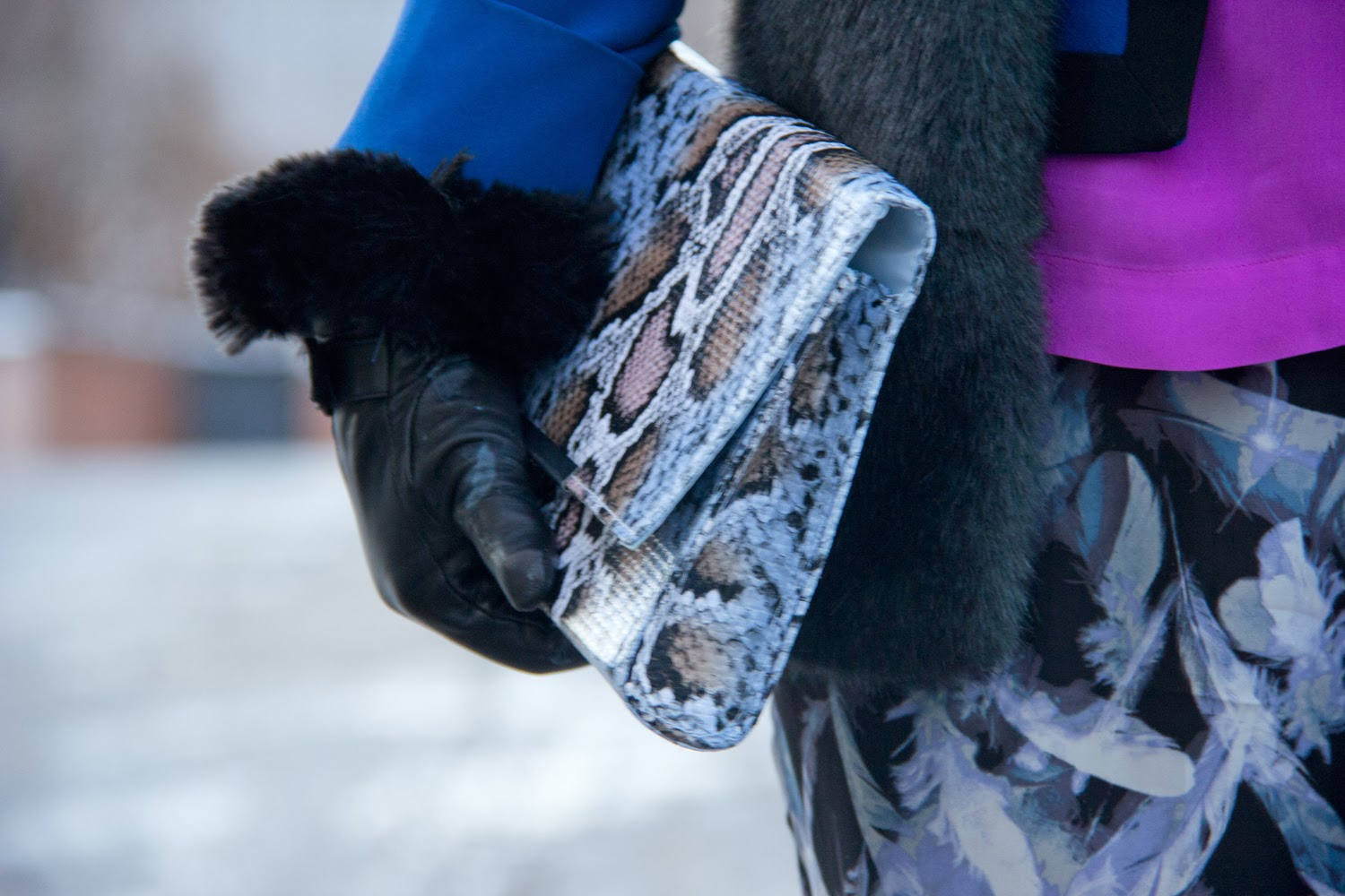 Snake-Skin-Print-Clutch, Lechateau-Black-Gloves, Faux-Fur-Vest