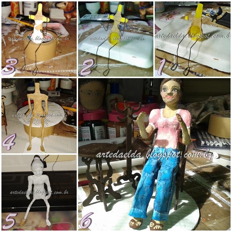 escultura de papel machê: leitora