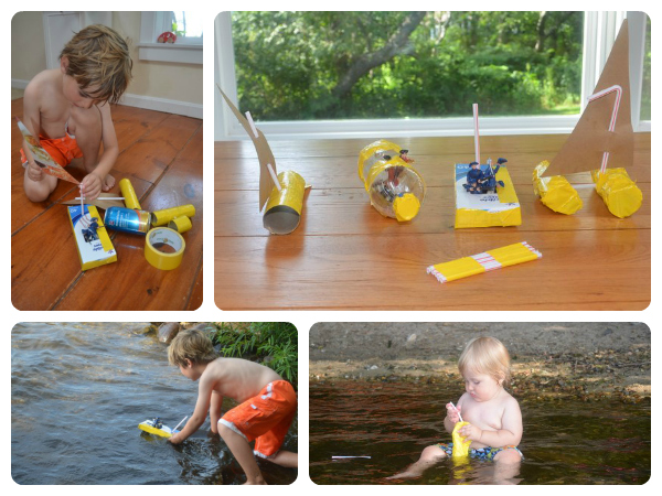 Make your own boats from paper towel tubes and cans