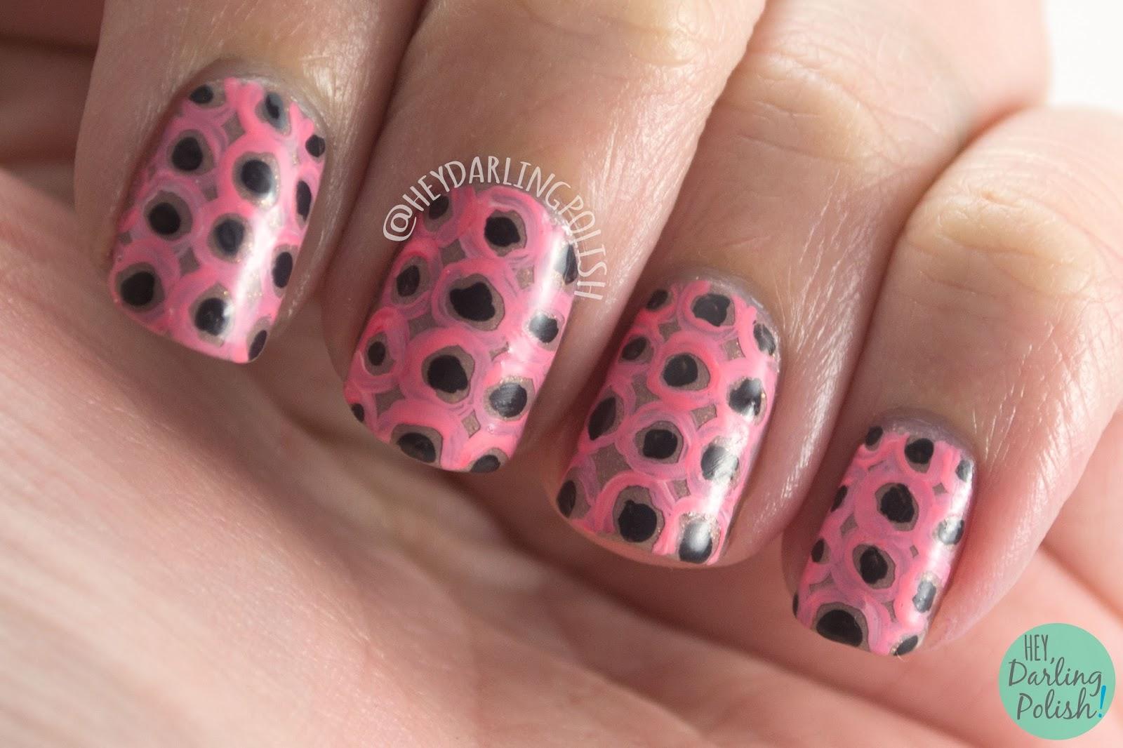 nails, nail art, nail polish, polka dots, dots, pink, hey darling polish, pattern, the nail challenge collaborative