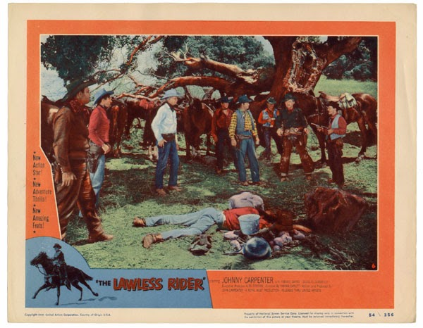 The Lawless Rider movie scenes A lobby card possibly designed to trick viewers into thinking The Lawless Rider was in color