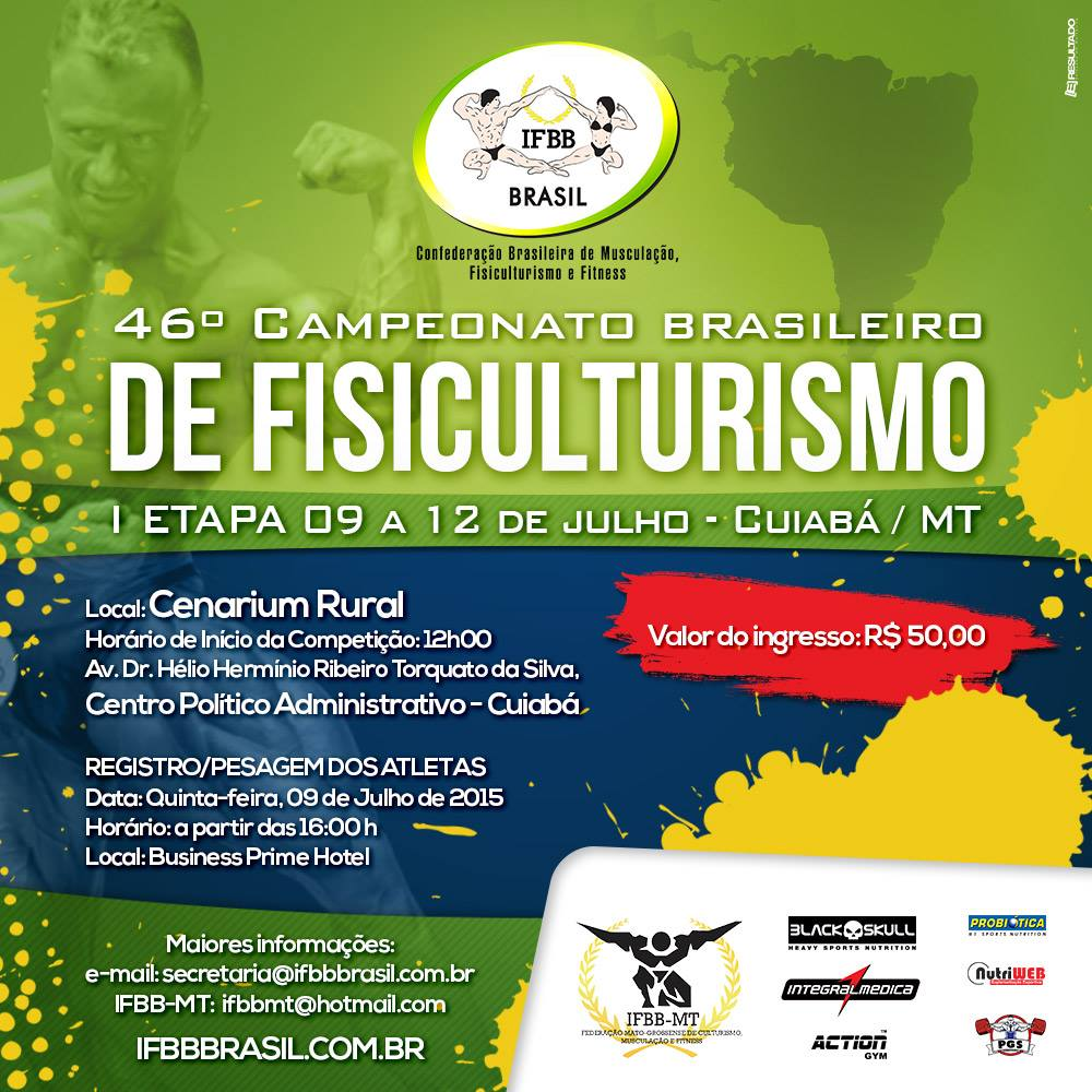 Banner da 1ª etapa do 46º Campeonato Brasileiro de Fisiculturismo e Fitness IFBB. Foto: Divulgação