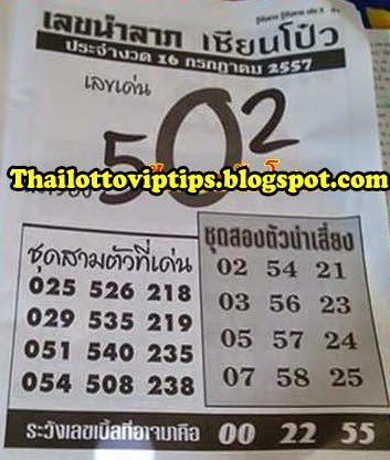 Thai lotto Hot Exclusive Paper 16-07-2014