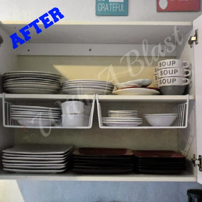 Kitchen Cabinets Organized ~ using one type of basket and gaining loads of space !   #kitchen #cabinetorganizing #organizing #DIY #shelves via:withablast.blogspot.com
