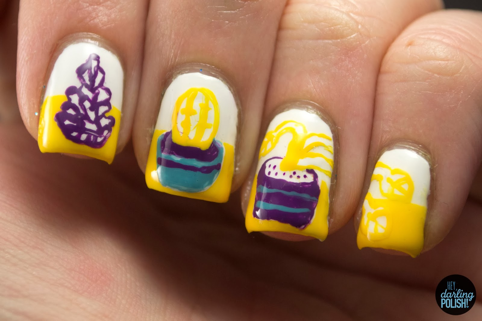 nails, nail art, nail polish, polish, still life, nail art a go go, yellow, purple, blue, hey darling polish, art 101