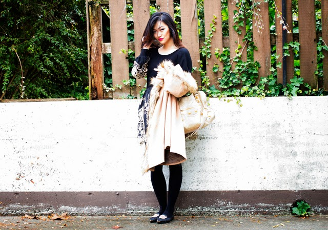 vancouver blogger jasmine zhu for posing in vintage wearing romwe baroque detail skirt and sweater, romwe faux fur hooded cape