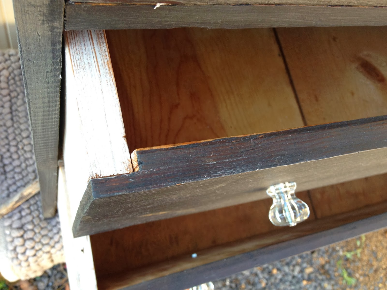 refurbished antique dresser crystal knobs black