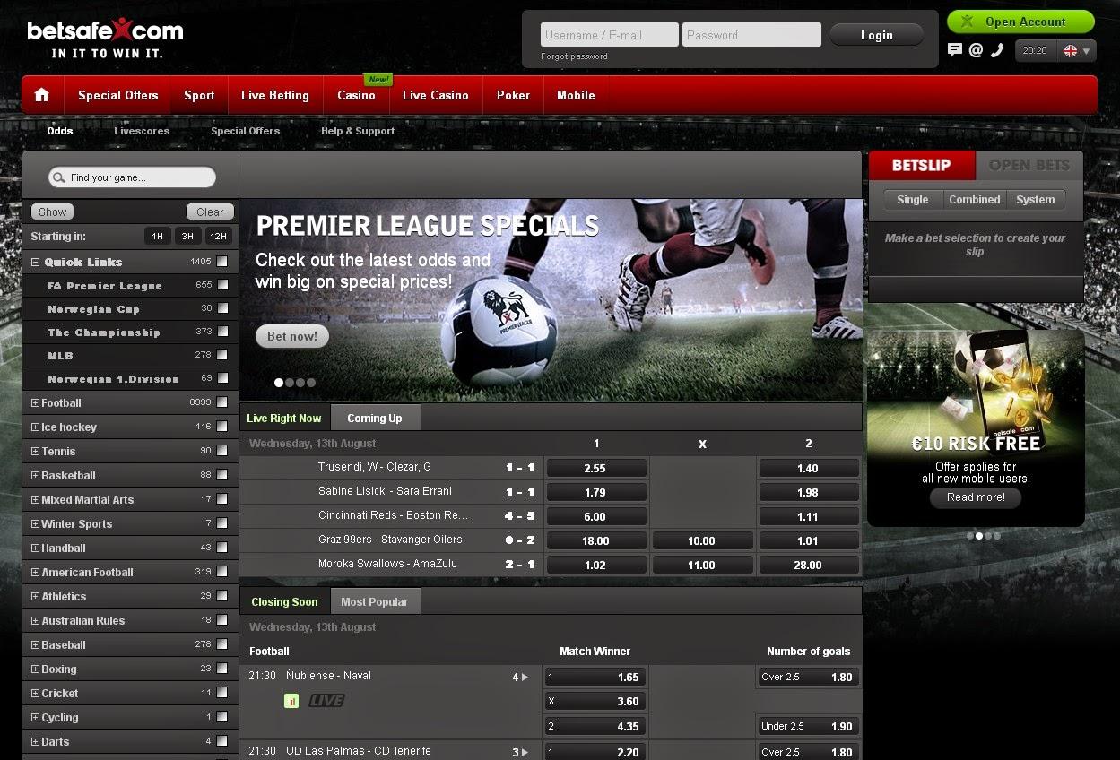 Betsafe Sportsbook Screen
