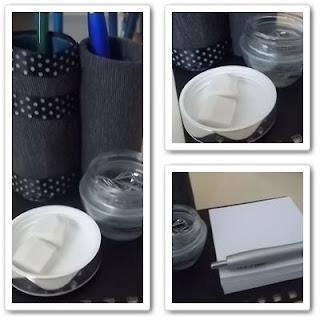 porta-canetas feito de material que ira para o lixo