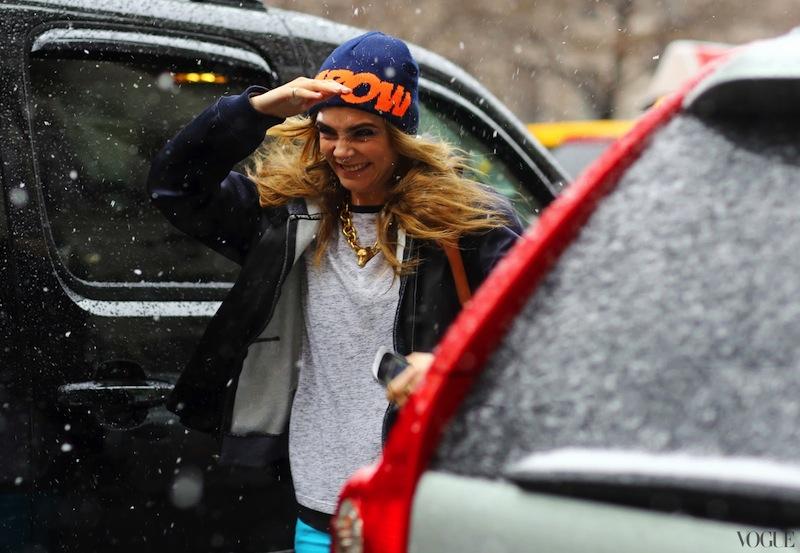 winter, style, street style, Cara Delevinge, NYFW, Fashion week, snow