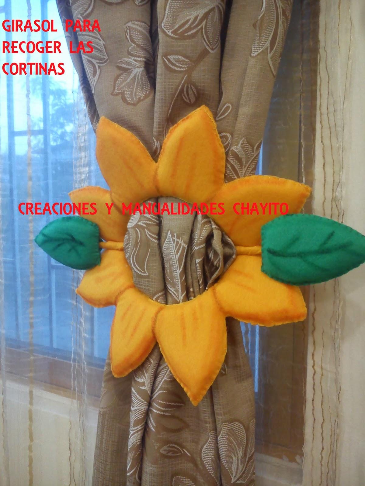 """Cortinas De Baño Rosario:Creaciones y Manualidades """"Chayito"""": GIRASOL PARA RECOGER LA CORTINA"""