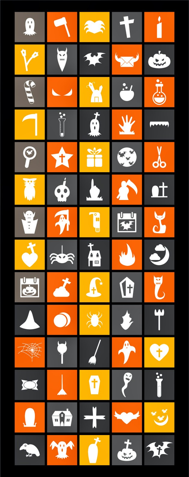 90 Free Flat Halloween Icons 2014 (Ai)