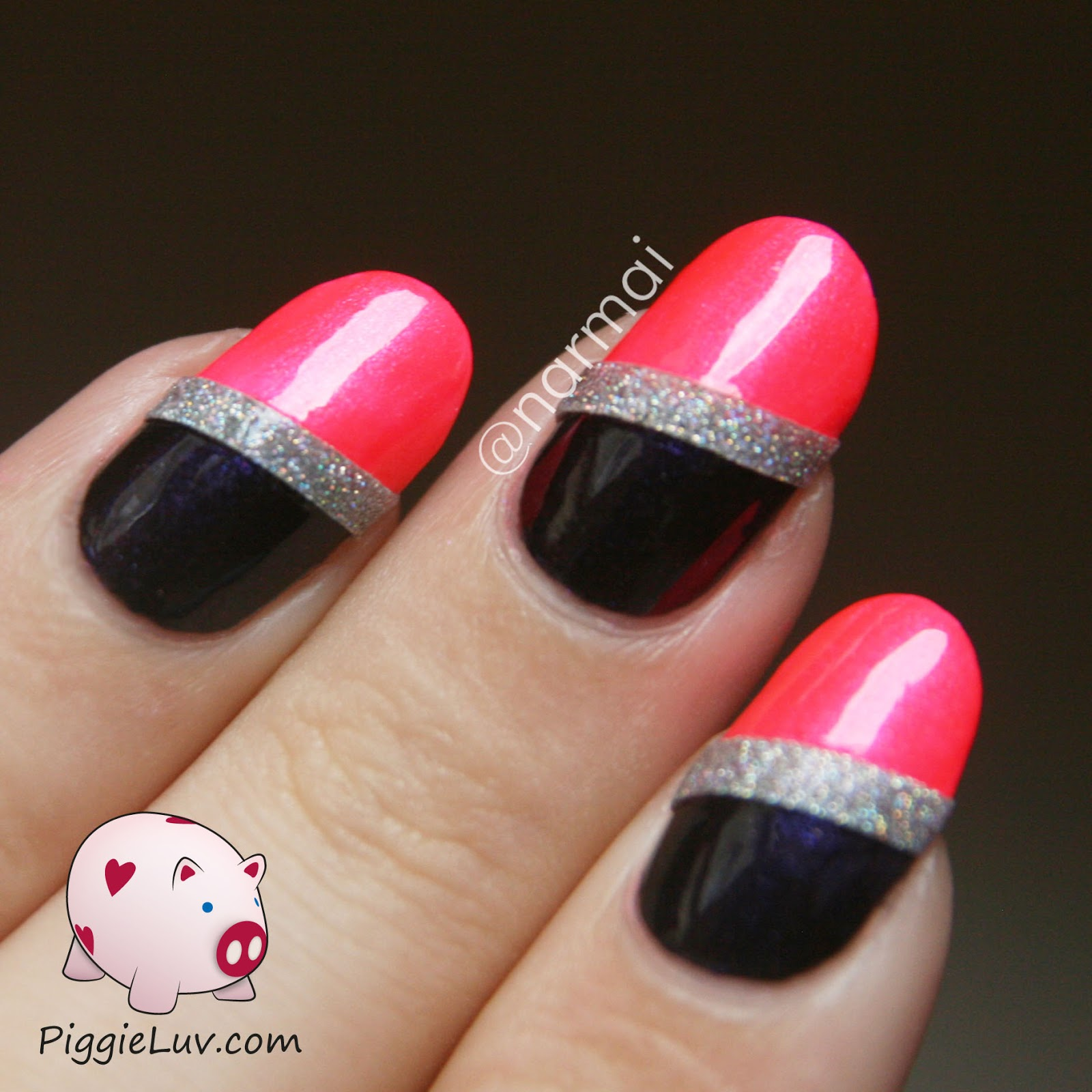 PiggieLuv: Chique neon nail art