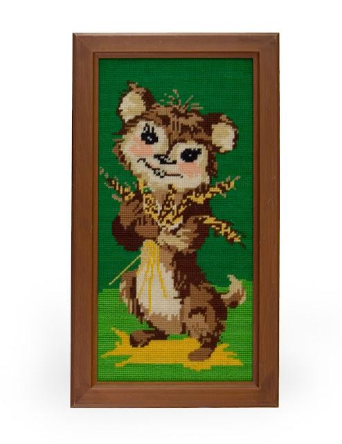70er Vintage Stickbild Hamster Maus