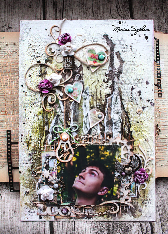 Мой МК на Art Jump! @MarinaSyskova #canvas #mixedmedia #marinasyskova #scrapbooking