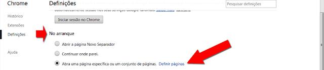 Configuração definir uma página inicial