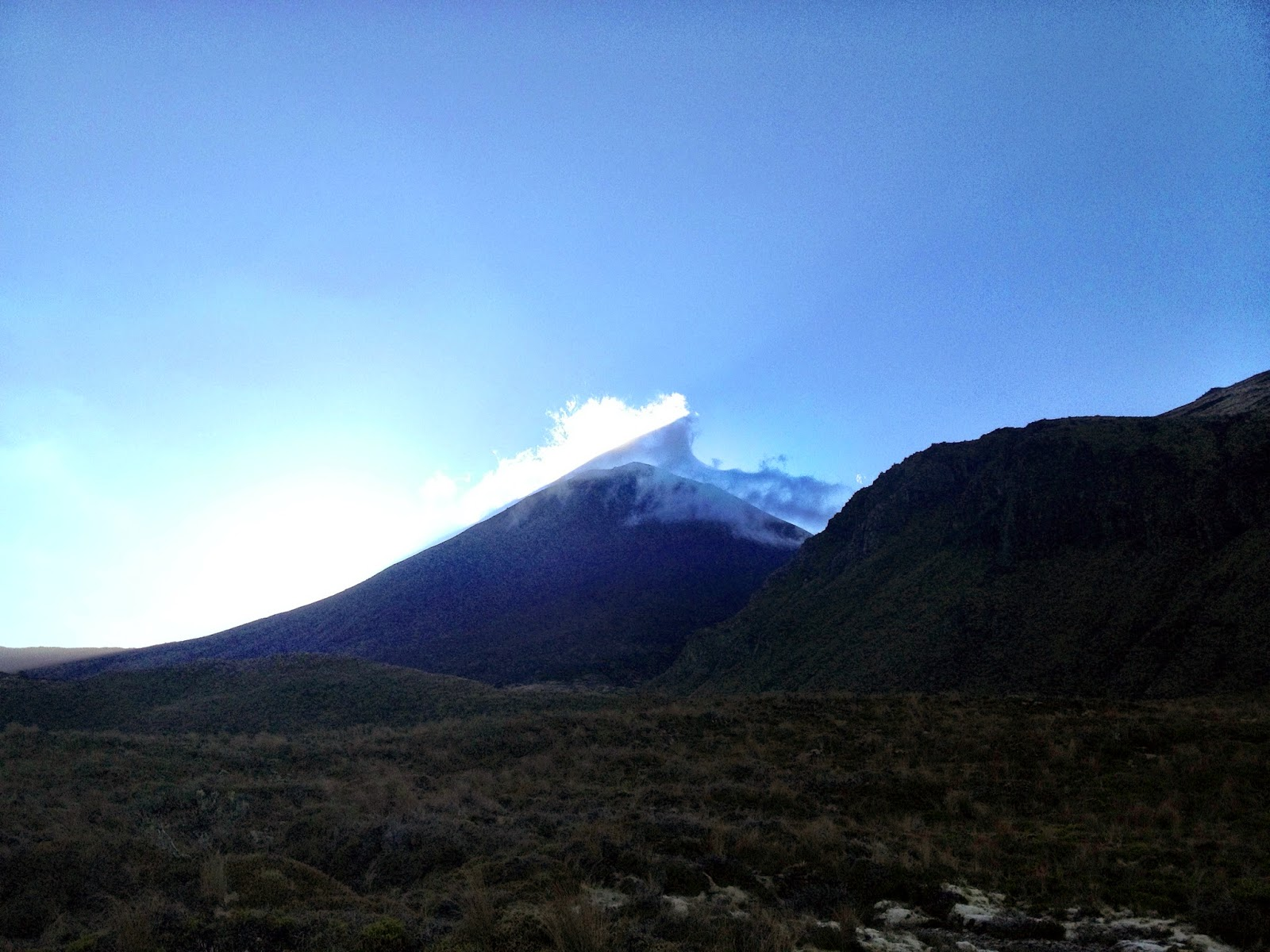 Sunrise next to Mount Ngauruhoe, Tongariro National Park, New Zealand