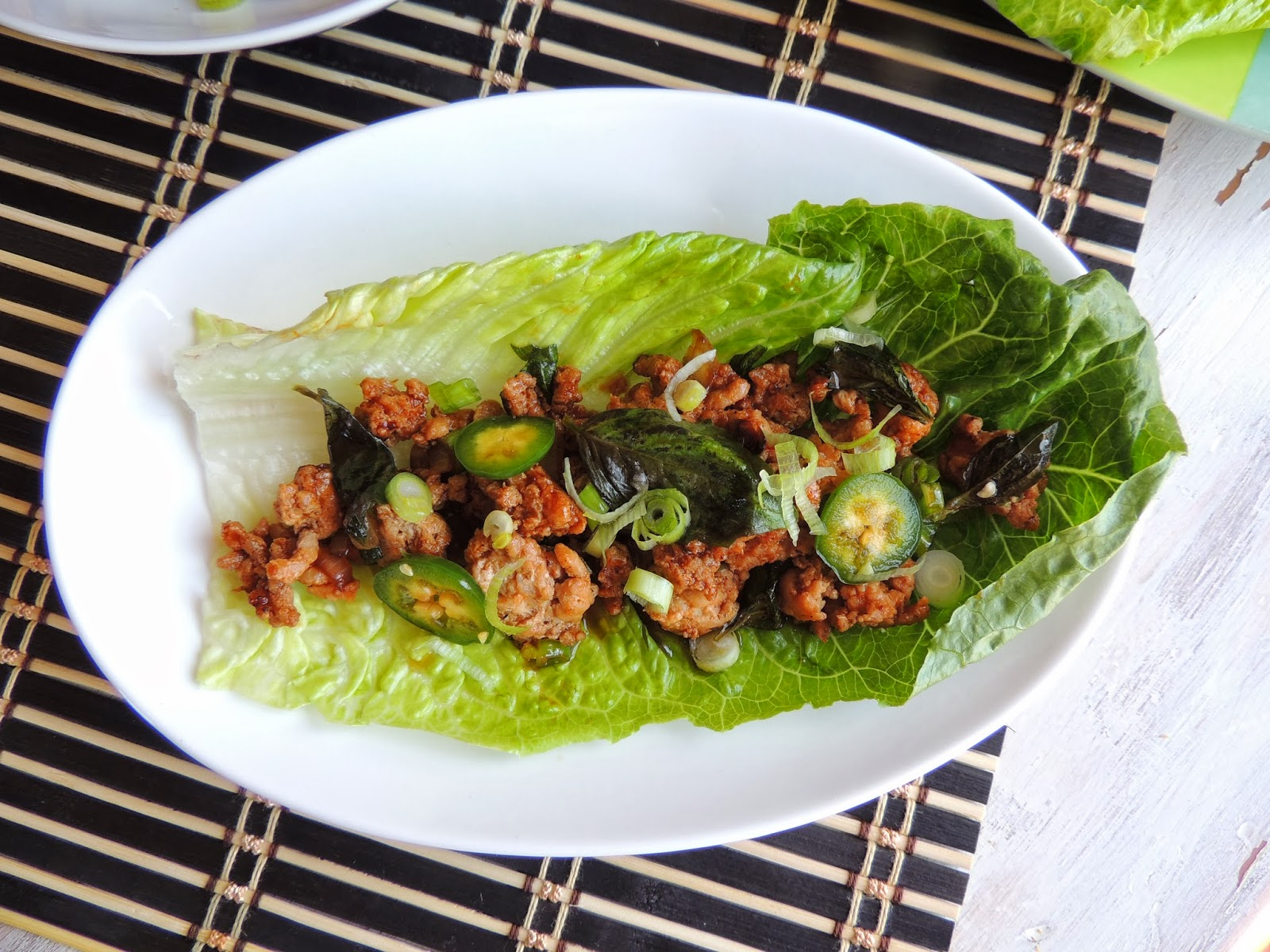 Spicy Basil Chicken Lettuce Wraps Recipe — Dishmaps