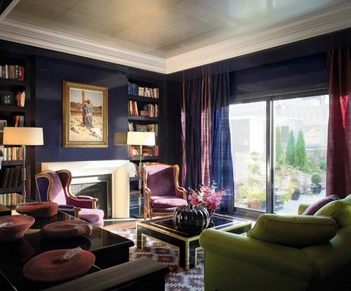 Art deco living room with deep purple color ideas