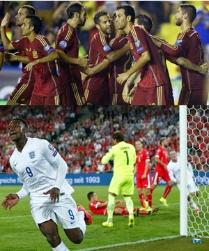 Eliminatorias Eurocopa Espanha 5 x 1 Macedônia, Suíça 0 x 2 Inglaterra