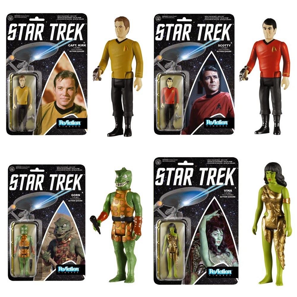 Star Trek: The Original Series ReAction Series 2 Retro Action Figures by Funko & Super7 - Captain Kirk, Scotty, Gorn & Vina