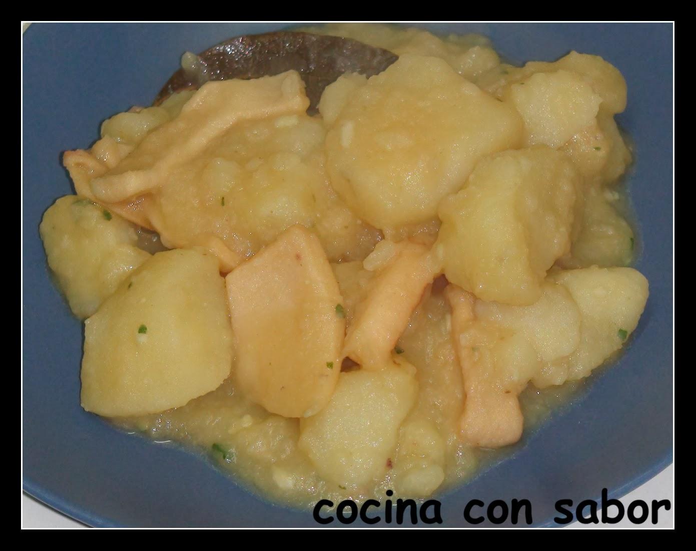 Cocina con sabor estofado de patatas con calamares olla r pida - Patatas en olla rapida ...