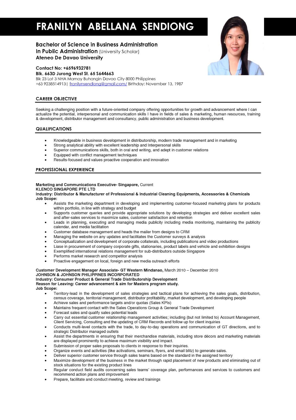 resume sample for us companies
