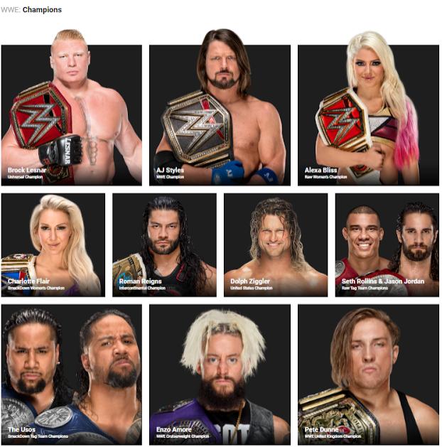 الأبطال الحاليين بإتحاد WWE