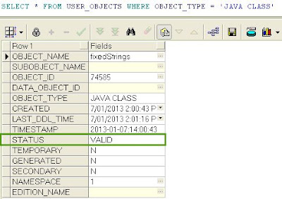 Check Java Procedure Load in Oracle Database - Output of the SQL Query