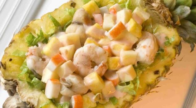 C ctel de pi a langostinos y vieiras - Coctel de marisco ingredientes ...