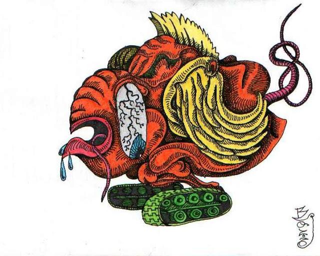 Слабоумное чудовище-идиот на гусеницах. Графический рисунок тушью